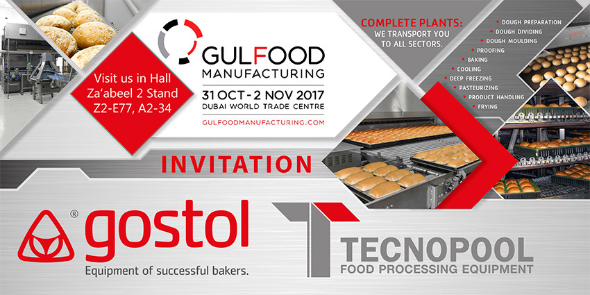 Gostol and Tecnopool invite you on exhibition GULFOOD MANUFACTURING, DUBAI from 31st October to 02nd November, 2017