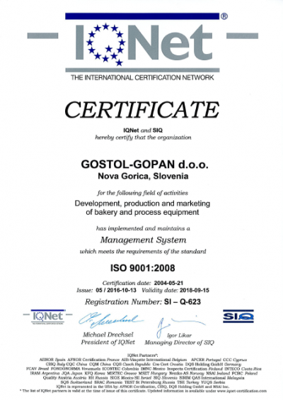 Gostol - Gopan d.o.o. maintains Certificate ISO 9001:2008