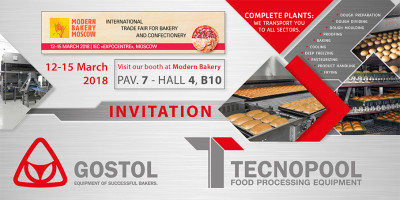Invitation on exhibition Modern Bakery Moscow, 12th - 15th March 2018